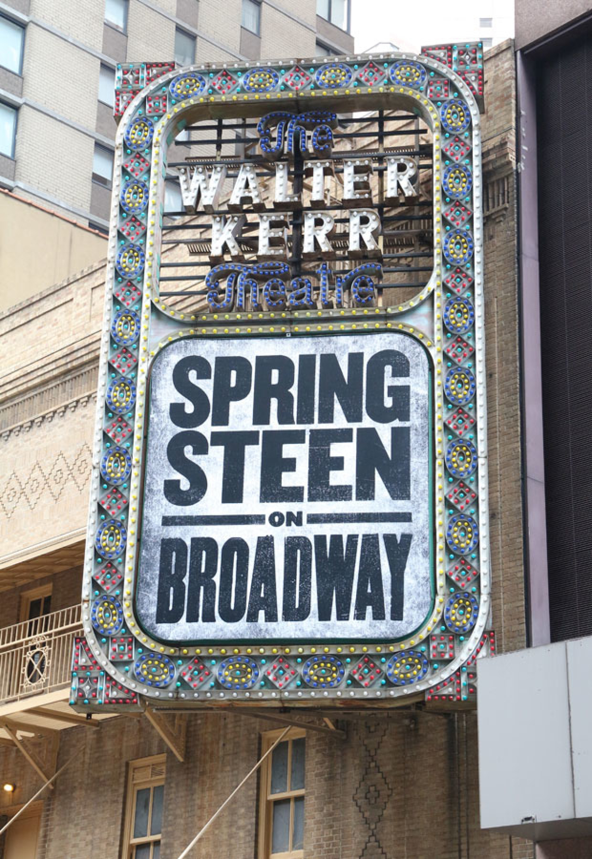 the marquee for springsteen on broadway at the walter kerr