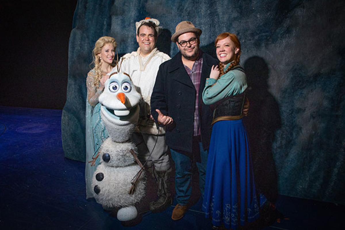 Josh Gad Visits His Extended Frozen Family on Broadway