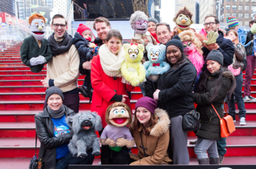 the human and puppet cast of avenue q celebrates world 112483 jpg