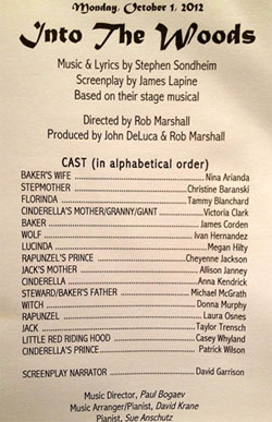 this may be the real cast list for the into the woods film
