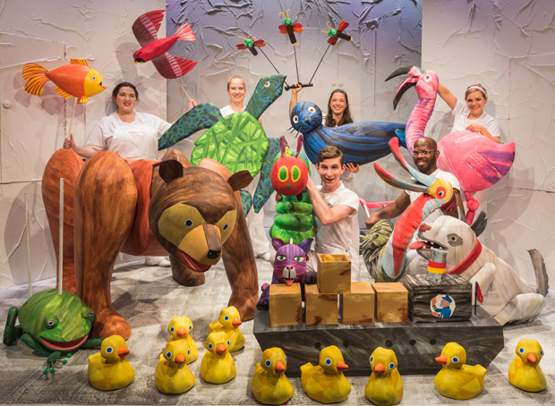 Many of the Hungry Caterpillar Show puppets gather for a photo shoot.