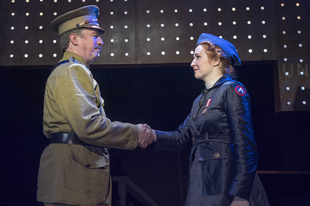 Scott Wakefield plays General Pershing, and Ellie Fishman plays Grace Banker in The Hello Girls.