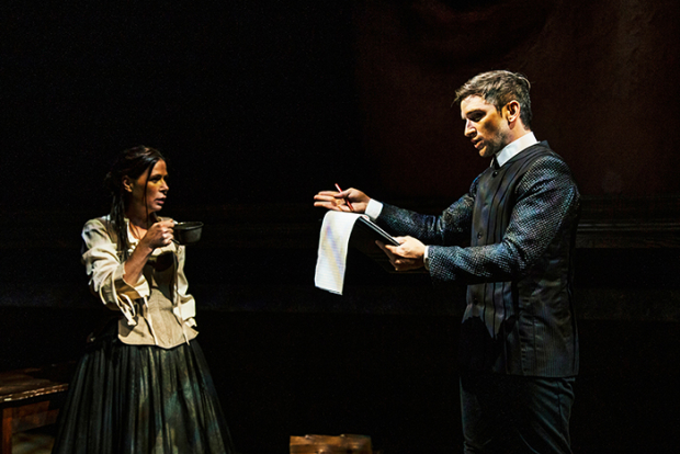 Maura Tierney and Evan Jonigkeit in Jen Silverman's Witch, directed by Marti Lyons, at the Geffen Playhouse.