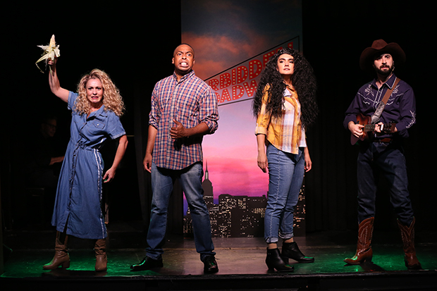 "Jenny Lee Stern, Immanuel Houston, Aline Mayagoitia, and Chris Collins-Pisano perform Woke-lahoma!"" in Forbidden Broadway: The Next Generation''."