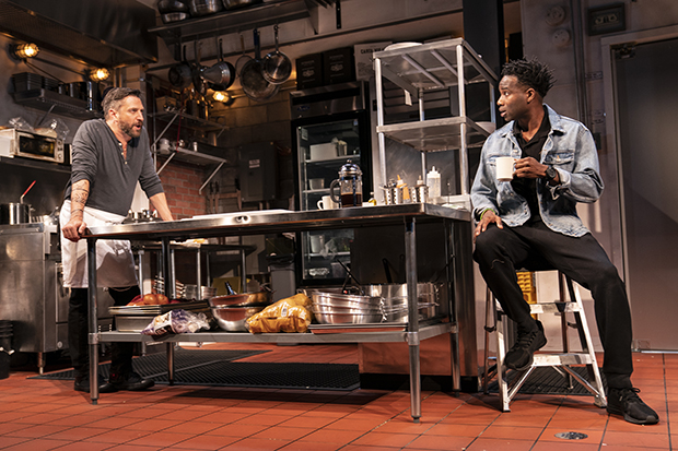 Raúl Esparza and W. Tré Davis appear on Tim Mackabee's set for the New York debut of Seared.
