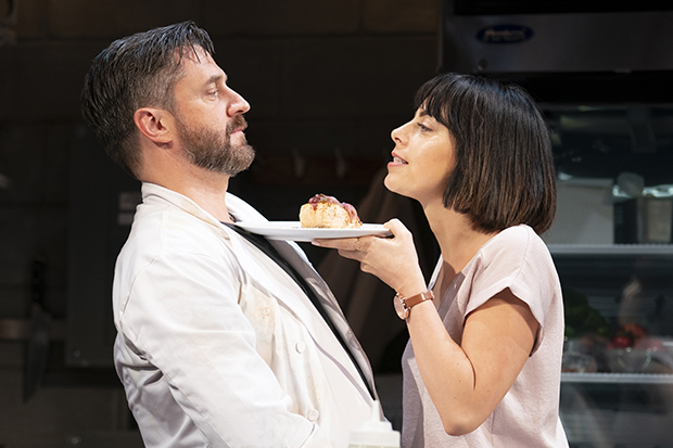 Raúl Esparza plays Harry, and Krysta Rodriguez plays Emily in Seared.