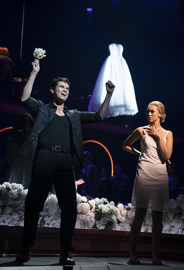 Jason Gotay and Solea Pfeiffer in Evita at New York City Center.