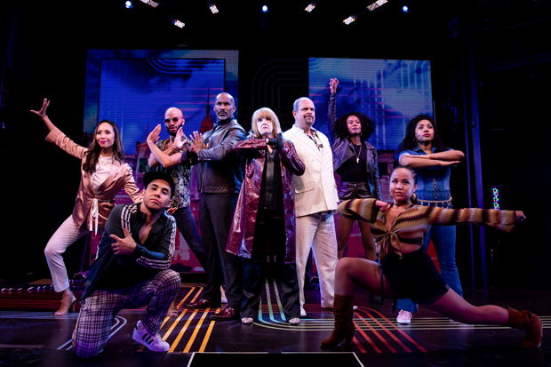 Annie Golden and the off-Broadway cast of Broadway Bounty Hunter. (© Matthew Murphy)