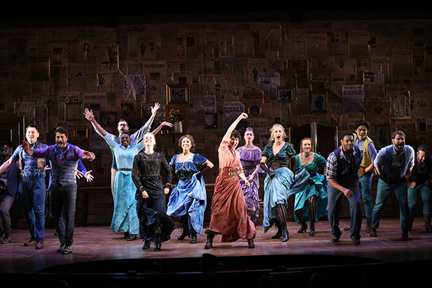 Beth Malone (center) leads the off-Broadway cast of The Unsinkable Molly Brown.(© Carol Rosegg)